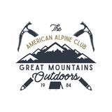 Great mountains outdoors label. Vintage hand drawn travel design. For camp mugs, t shirts, prints. Typography elements. Included. isolate on white Royalty Free Illustration