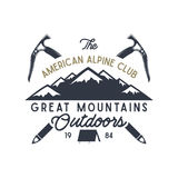 Great mountains outdoors label. Vintage hand drawn travel design. For camp mugs, t shirts, prints. Typography elements. Included. Vector isolate on white Royalty Free Illustration