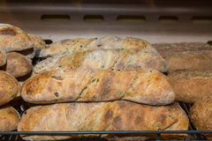 Great multigrain bread on a counter in the store Stock Images