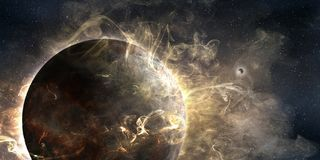 The great mystery of cosmos. 3d illustration of outer planet wrapped in a cosmic glowing cloud Royalty Free Stock Photography