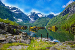 Great Mystical Bondhusvatnet lake, Norway Stock Photos