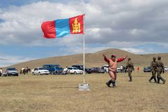 The GREAT NAADAM FESTIVAL. The Naadam festival is the biggest and most joyful celebration for Mongolians. It takes place on the 11-12th of July each year. The Royalty Free Stock Photos