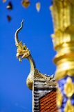 The great Naga statue Traditional Thai style with blue sky background Stock Photography