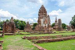 The great Narai Palace at Lopburi, Thailand. The great Narai Palace landscape view on the light blue sky at Lopburi, Thailand stock photo