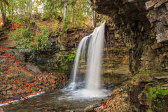 Great natural view of Niagara escarpment green belt waterfall in beautiful cozy autumn woods Stock Photos