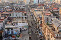 Great natural view of old antique retro style Cuban Havana city with people in background Royalty Free Stock Photo