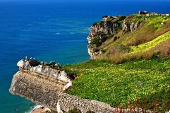 Wonderful landscape at the Atlantic west coast in Portugal. Great nature and wonderful colours at Portugal`s Atlantic west coast. Rocks and blue water royalty free stock images