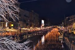 Great naviglio at night in Milan. Illuminated during the Christmas holidays Royalty Free Stock Images