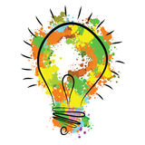 Great new idea concept - bulb with hand draw vector watercolor elements. Royalty Free Stock Image