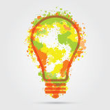 Great new idea concept - bulb with hand draw vector watercolor elements. Royalty Free Stock Images