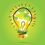 Great new idea concept - bulb with hand draw vector watercolor elements. Stock Photography