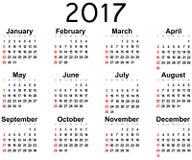 Great new wall calendar 2017. Vector illustration Royalty Free Stock Image