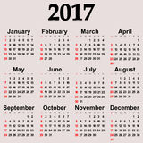 Great new wall calendar 2017. Vector. Illustration Stock Photography