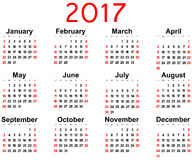 Great new wall calendar 2017. Vector. Illustration Stock Images