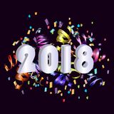 2018 New Year card with colorful serpentine. Great for New year party posters, headers. Vector illustration Stock Photos