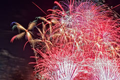 Great, New Year's night fireworks. Close view of colorful bouquets of fireworks in the night sky on the night of 31 December to 1 January. close, horizontal view Stock Photography