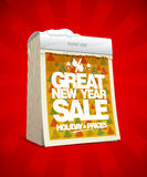 Great new year sale banner, tear-off calendar, winter holiday prices. Concept Stock Photography