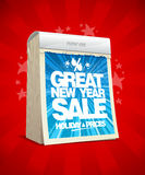 Great new year sale poster concept, tear-off calendar. Winter holiday prices banner stock illustration