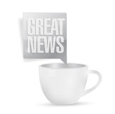 Great news and coffee mug. illustration design Stock Photography