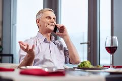 Cheerful mature man communicating on phone. Great news. Gay attractive mature man laughing while having phone call and sitting at the table stock photography