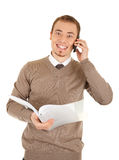 Great news by phone. Man with paperwork in hands is completely happy with news by phone. Isolated on white background Royalty Free Stock Photo