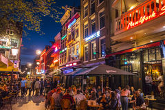 Great night life in Amsterdam - the famous Leidse Square stock image