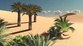 Wonderful point of view on Sahara desert at sunset 3d rendering. Great night over african wilderness Royalty Free Stock Photo