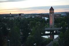 Great Northern Clock Tower at dusk in Spokane royalty free stock photography