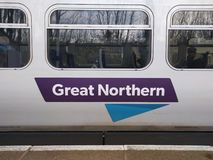 Great Northern rail. Way logo on the side of a train royalty free stock image