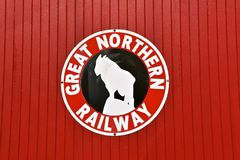 Great Northern Railway logo. MOORHEAD, MINNESOTA, March 16, 2018: The Great Northern Railway was a creation of James J. Hill, which ran a train from St.Paul MN stock images