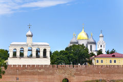 Great Novgorod. The Kremlin wall and Saint Sophia cathedral. Russia Royalty Free Stock Photography