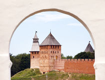 Great Novgorod. The Kremlin wall with  towers. Russia Royalty Free Stock Image