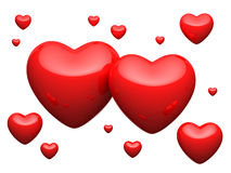 Great Number Of Red Hearts On White Background Royalty Free Stock Photography