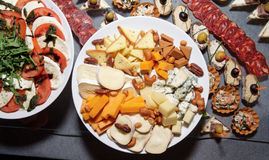 Great number of snacks on banquet table Stock Photography