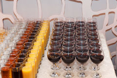 Great number of soft drinks ready for a banquet, shot from above. Royalty Free Stock Photography