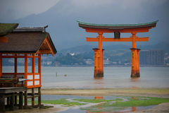 The great O-Torii in the water of Itsukushima Shrine Royalty Free Stock Photography