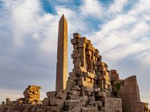 Great Obelisk at Karnak Temple Luxor Thebes Egypt. Karnak Temple is one of Egypt best destinations for tourists and is situated in Luxor City, on the Nile stock photography