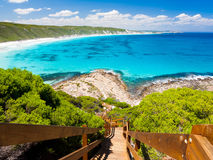 Great Ocean Drive. Wooden path at Observatory Point Great Ocean Drive Western Australia stock photo