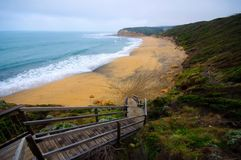 Great Ocean Drive cliff and beach Stock Photo
