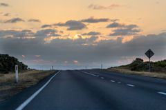 The Great Ocean Highway and sunset in New South Wales Royalty Free Stock Image