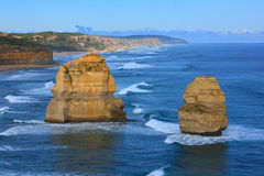 The Great Ocean Road. View of the 12 Apostles along the Great Ocean Road, Melbourne, Australia. Giant rock stacks that rise from the Southern Ocean and are the Stock Photography