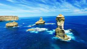 The Great Ocean Road, Australia. Aerial view of coastal rocks fr. Om helicopter royalty free stock photos
