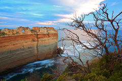 The Great Ocean Road.Melbourne.Australia. View of ocean along the Great Ocean Road, rock formation in ocean at sunset.Melbourne, Australia stock photography