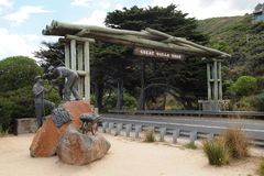 Great Ocean Road Memorial Arch, Victoria, Australia. The Great Ocean Road memorial - the beginner of important tourist attraction in the region Stock Photo
