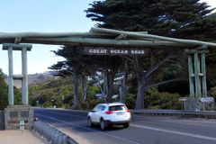 Great Ocean Road memorial arch in Victoria Australia. The Great Ocean Road memorial arch.The Great Ocean Road is an Australian National Heritage listed 243 royalty free stock photo