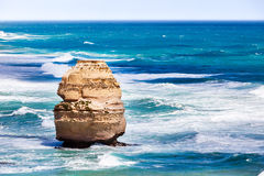 Great Ocean Road and one stone pillar. In the sea stock photography