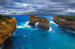 Great ocean road by stormy weather Royalty Free Stock Photography