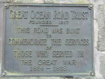 Great Ocean Road Trust Plaque Royalty Free Stock Image