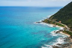 Great Ocean road and the turquoise waters. Stock Images