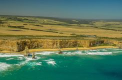Great ocean road. . View the twelve apostles from a helicopter. royalty free stock photos
